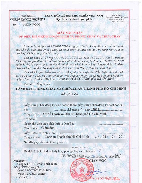 Trình tự xin giấy phép phòng cháy chữa cháy theo quy định